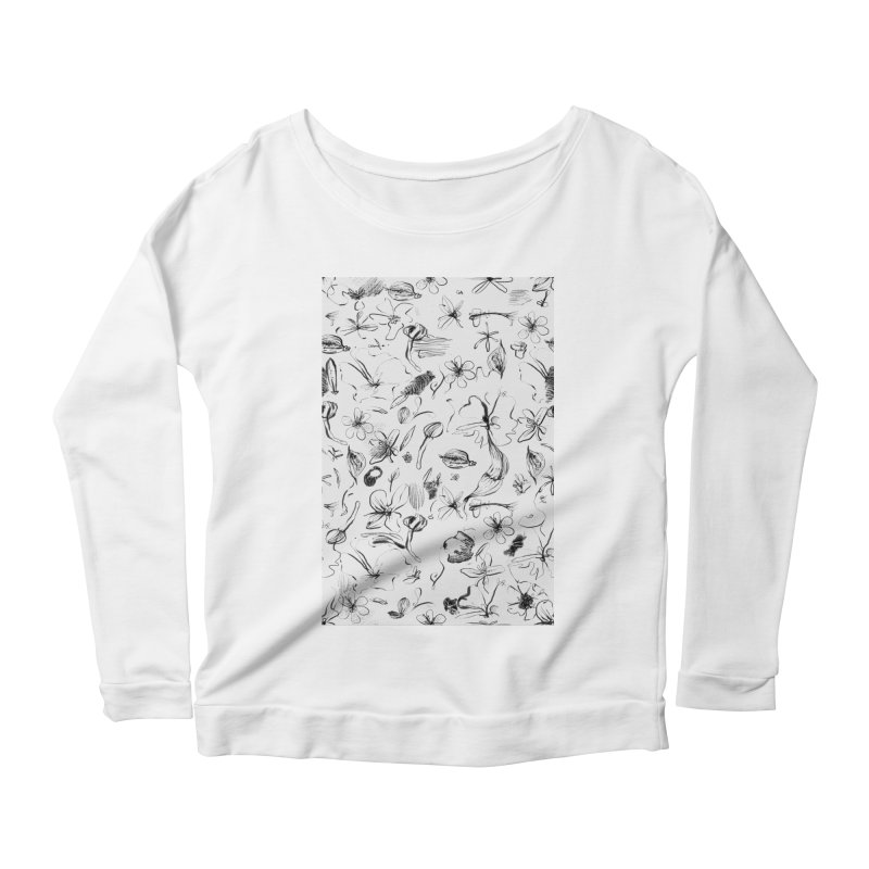 Ink Floral Pattern Abstract Women's Longsleeve Scoopneck  by BANANODROMO