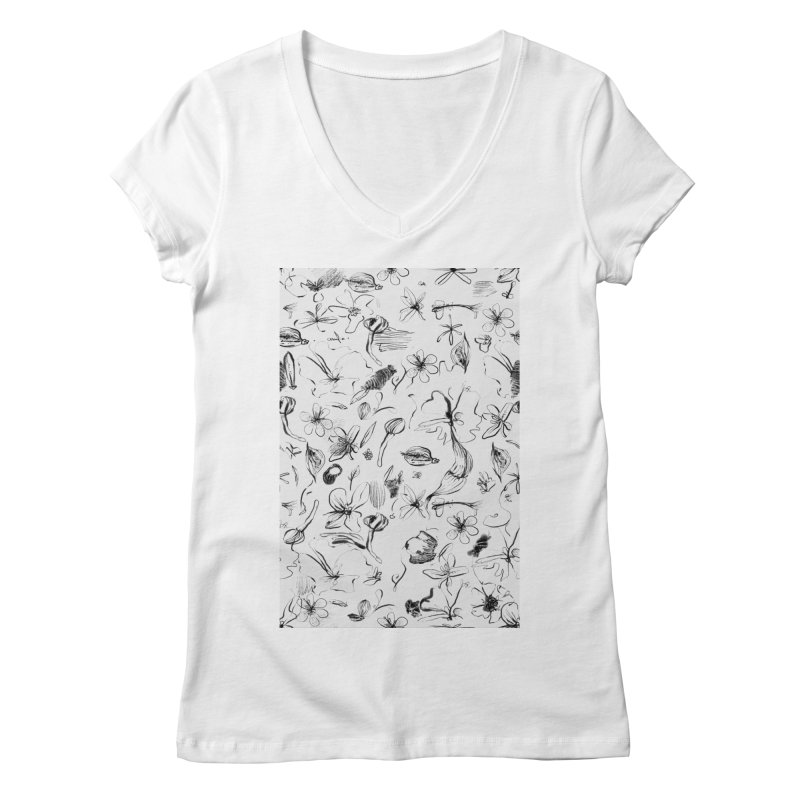 Ink Floral Pattern Abstract Women's V-Neck by BANANODROMO
