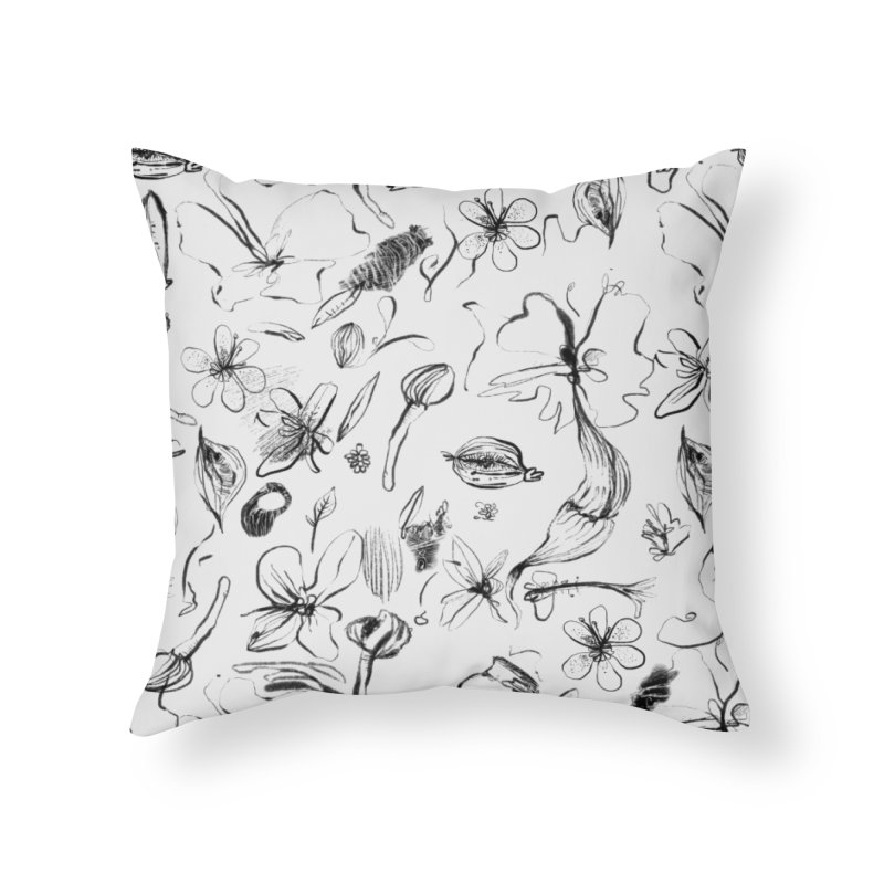 Ink Floral Pattern Abstract Home Throw Pillow by BANANODROMO