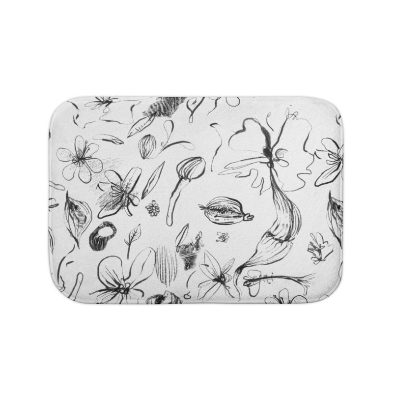 Ink Floral Pattern Abstract Home Bath Mat by BANANODROMO