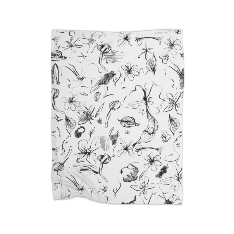 Ink Floral Pattern Abstract Home Blanket by BANANODROMO