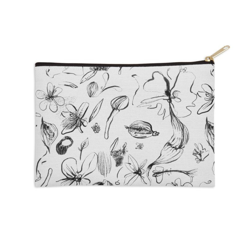Ink Floral Pattern Abstract Accessories Zip Pouch by BANANODROMO