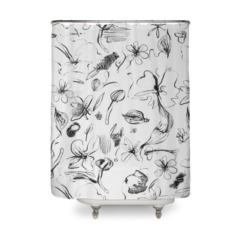 Ink Floral Pattern Abstract Home Shower Curtain by BANANODROMO