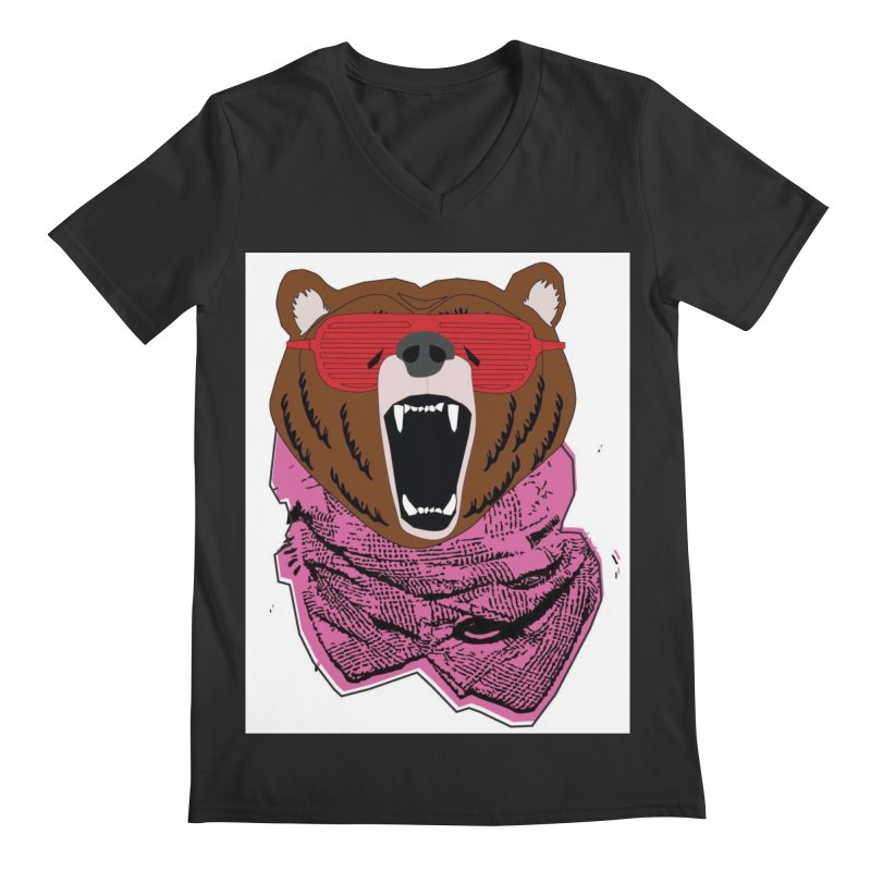 bear with shades Men's V-Neck by bansom12's Artist Shop