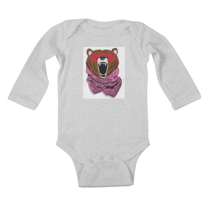 bear with shades Kids Baby Longsleeve Bodysuit by bansom12's Artist Shop