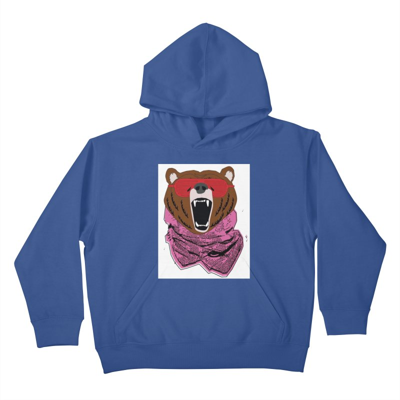 bear with shades Kids Pullover Hoody by bansom12's Artist Shop