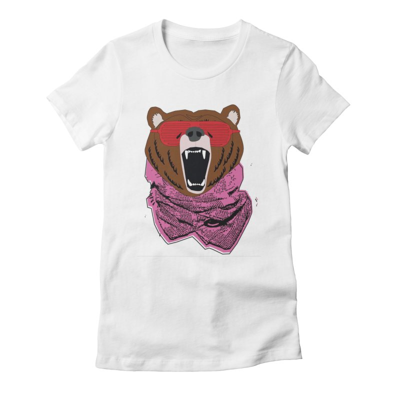 bear with shades Women's Fitted T-Shirt by bansom12's Artist Shop