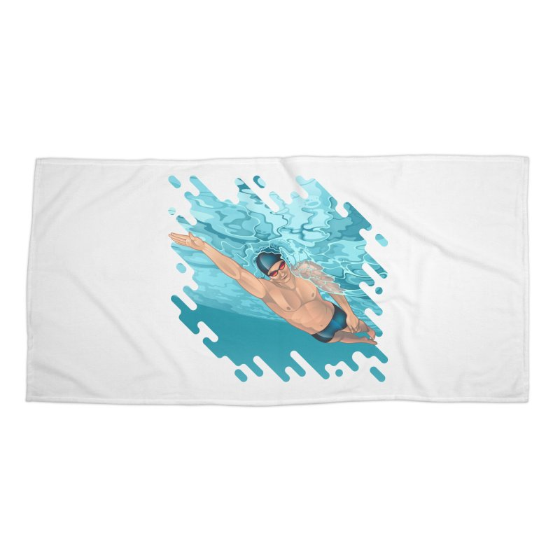 Super Swimmer Accessories Beach Towel by Barbara Gambini's Artist Shop
