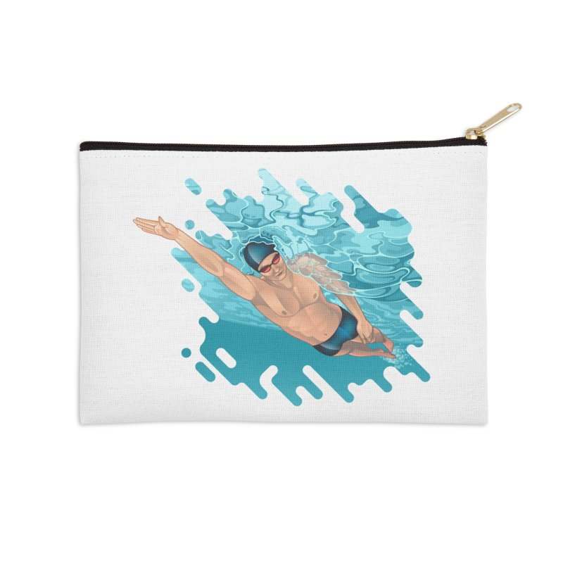 Super Swimmer Accessories Zip Pouch by Barbara Gambini's Artist Shop