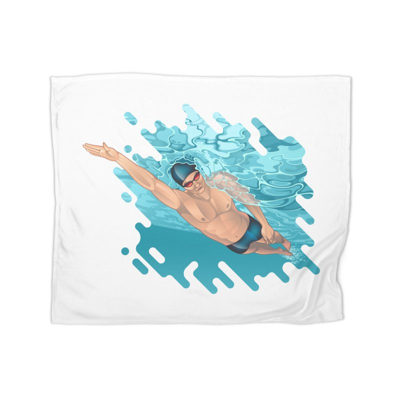 Super Swimmer Home Blanket by Barbara Gambini's Artist Shop