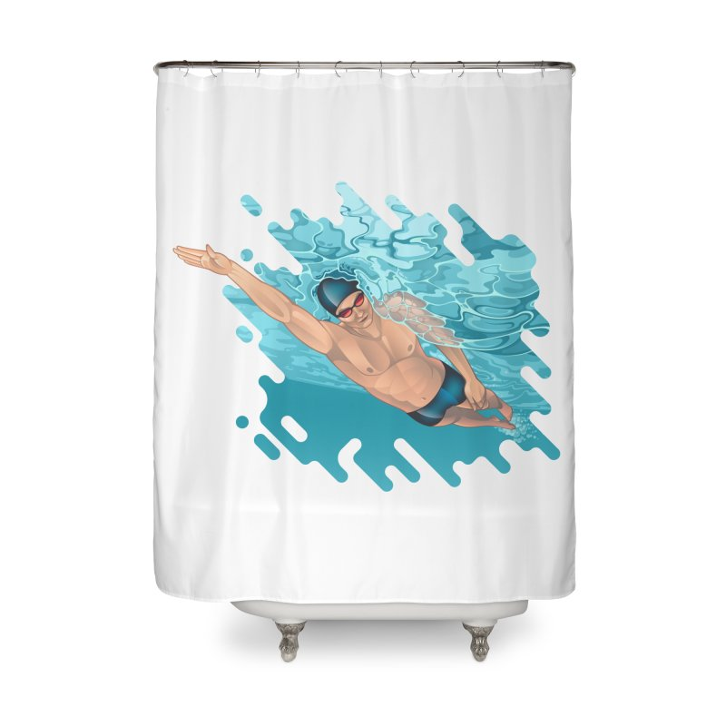 Super Swimmer Home Shower Curtain by Barbara Gambini's Artist Shop