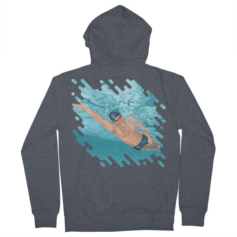 Super Swimmer Men's Zip-Up Hoody by Barbara Gambini's Artist Shop