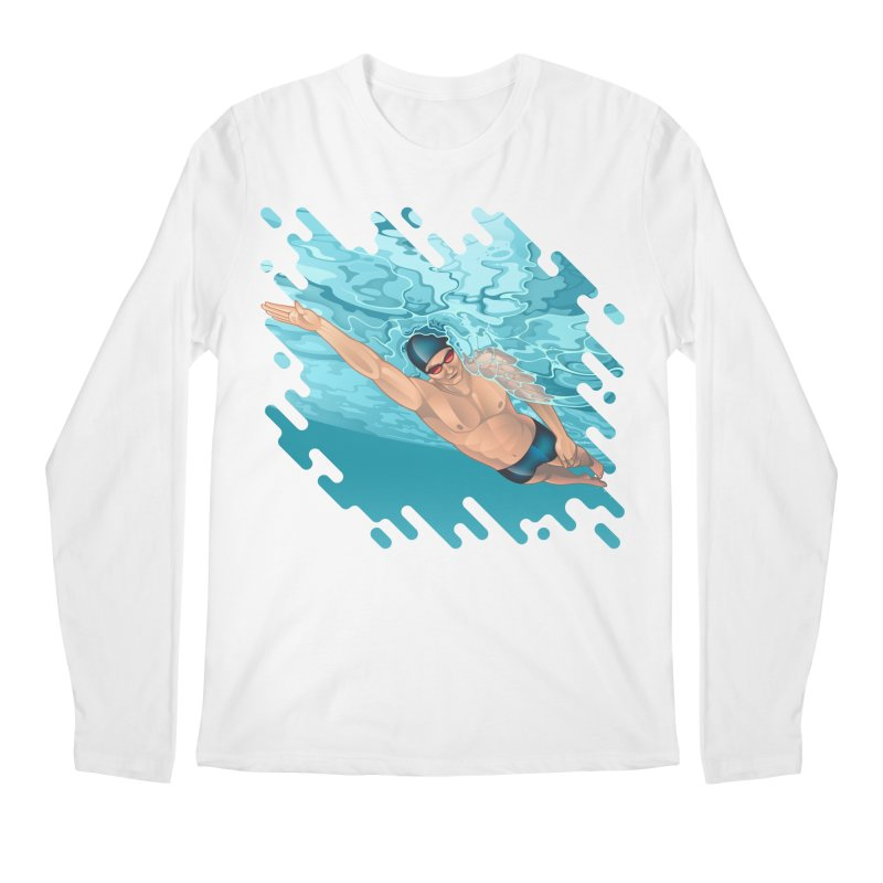 Super Swimmer Men's Longsleeve T-Shirt by Barbara Gambini's Artist Shop