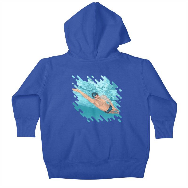 Super Swimmer Kids Baby Zip-Up Hoody by Barbara Gambini's Artist Shop