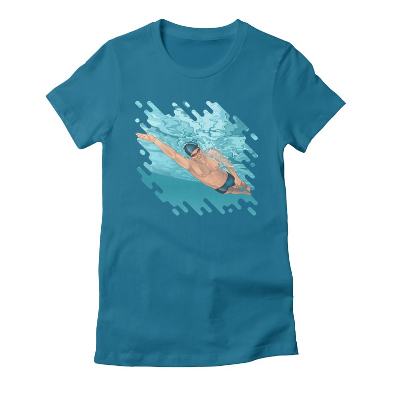 Super Swimmer Women's Fitted T-Shirt by Barbara Gambini's Artist Shop
