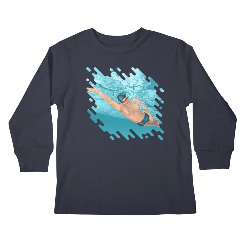 Super Swimmer Kids Longsleeve T-Shirt by Barbara Gambini's Artist Shop