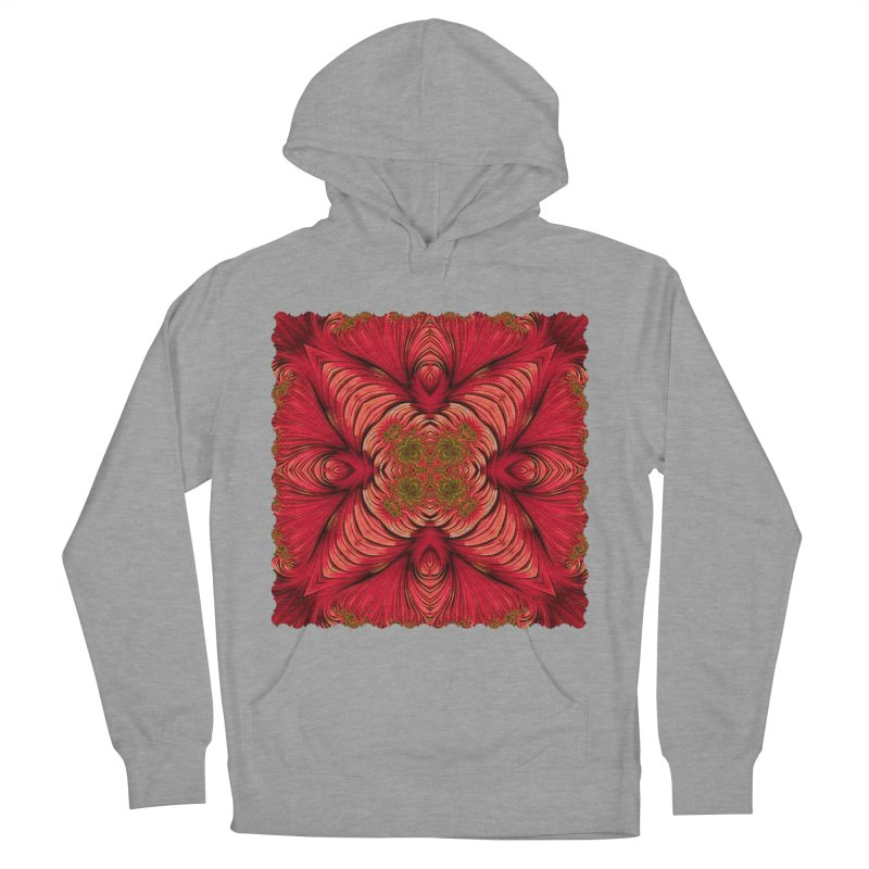 Red Fractal Star Women's Pullover Hoody by Barbara Storey Digital Art