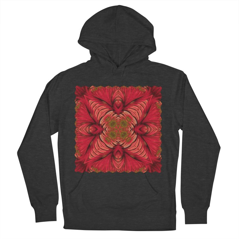 Red Fractal Star Men's Pullover Hoody by Barbara Storey Digital Art