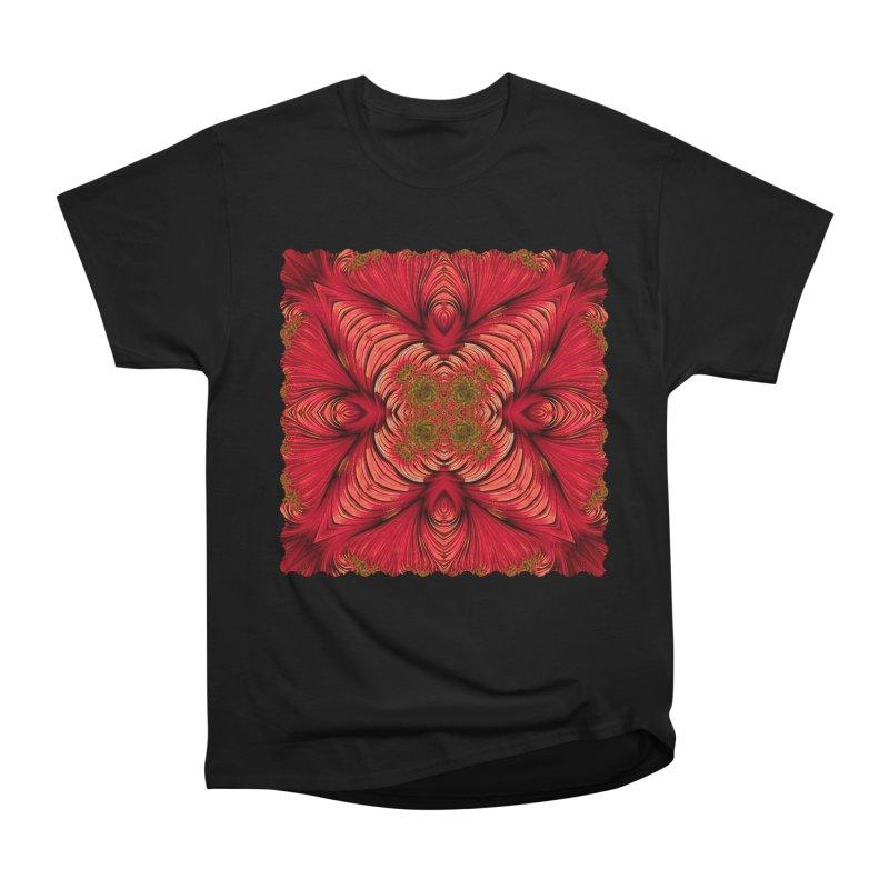 Red Fractal Star Men's Classic T-Shirt by Barbara Storey Digital Art