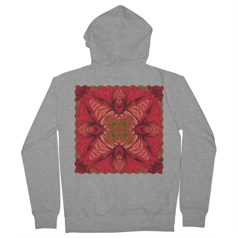 Red Fractal Star Men's Zip-Up Hoody by Barbara Storey Digital Art