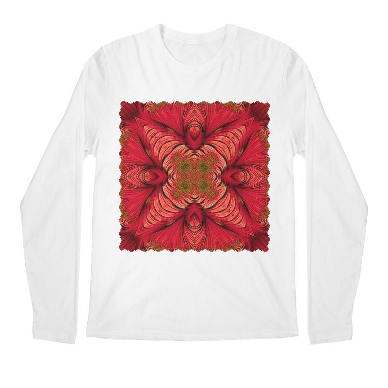 Red Fractal Star Men's Longsleeve T-Shirt by Barbara Storey Digital Art
