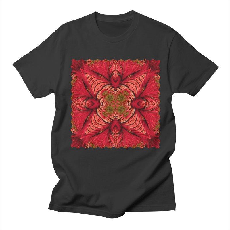 Red Fractal Star Women's Unisex T-Shirt by Barbara Storey Digital Art