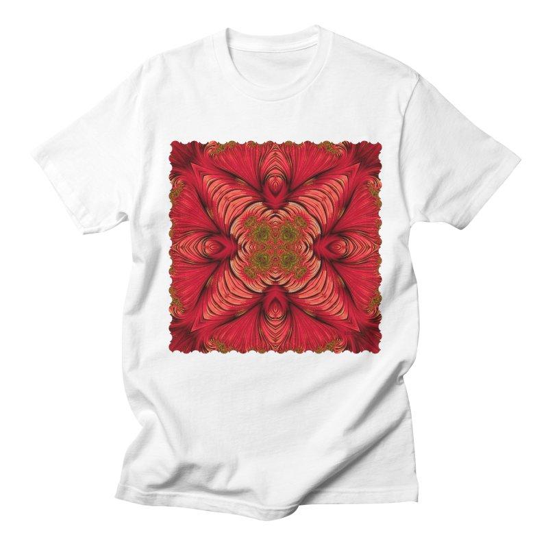 Red Fractal Star Men's T-shirt by Barbara Storey Digital Art
