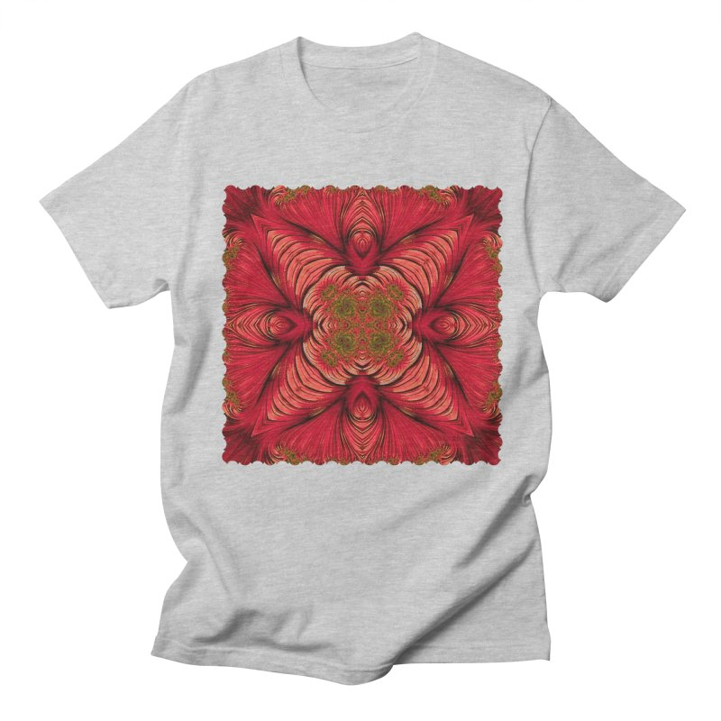 Red Fractal Star Men's T-Shirt by Barbara Storey Digital Art