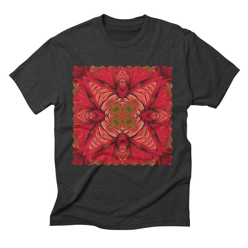 Red Fractal Star Men's Triblend T-Shirt by Barbara Storey Digital Art