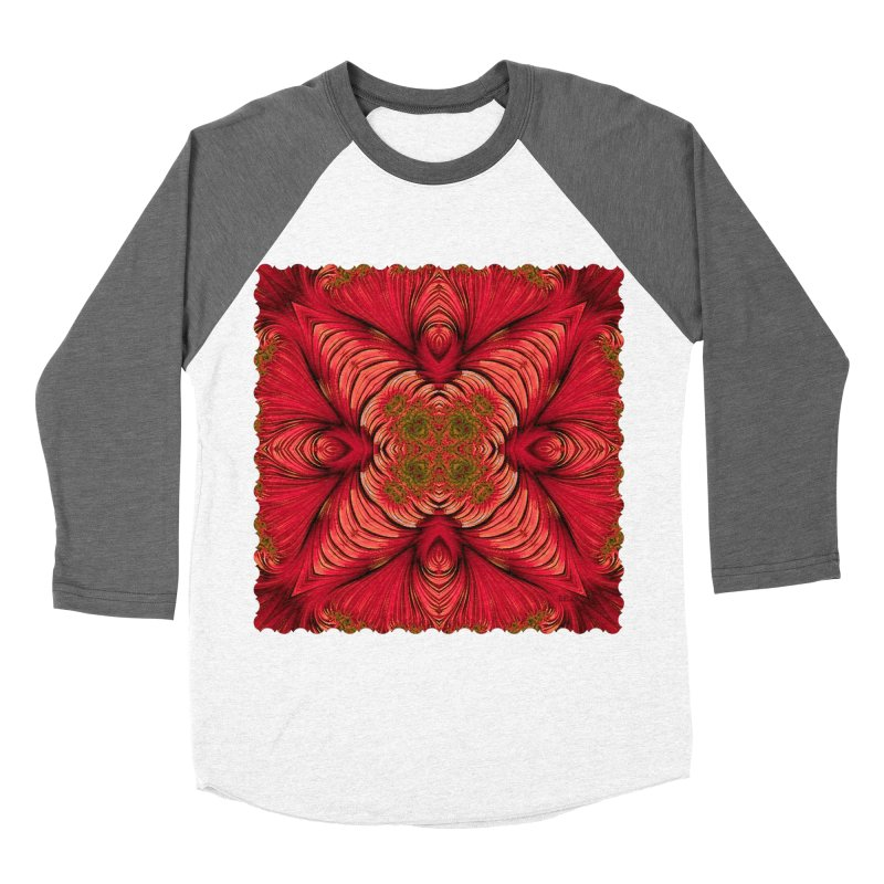 Red Fractal Star Women's Baseball Triblend T-Shirt by Barbara Storey Digital Art