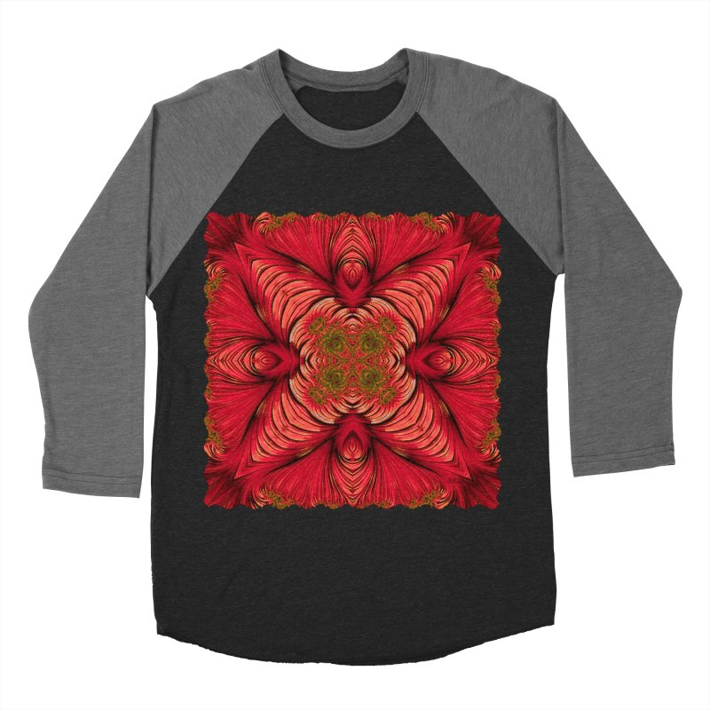 Red Fractal Star Men's Baseball Triblend T-Shirt by Barbara Storey Digital Art