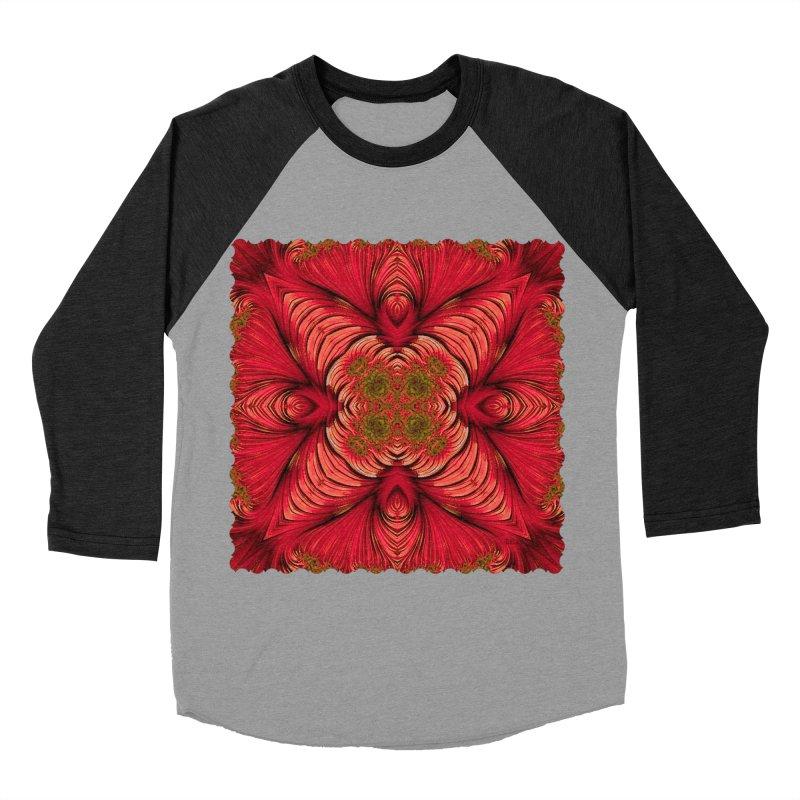 Red Fractal Star Men's Baseball Triblend T-Shirt by Barbara Storey Digital Art