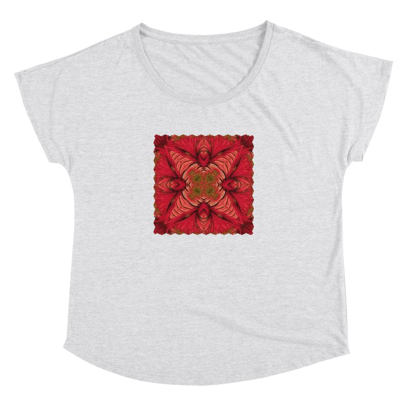 Red Fractal Star Women's Scoop Neck by Barbara Storey Digital Art