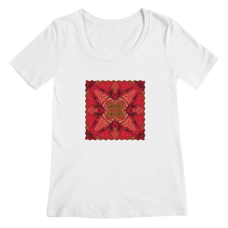 Red Fractal Star Women's Scoopneck by Barbara Storey Digital Art