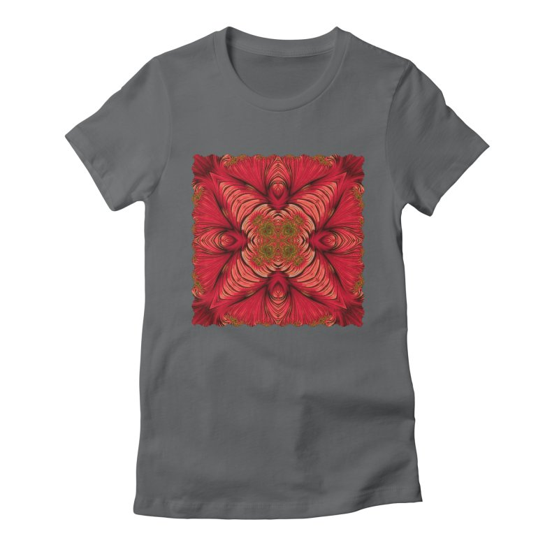 Red Fractal Star Women's Fitted T-Shirt by Barbara Storey Digital Art