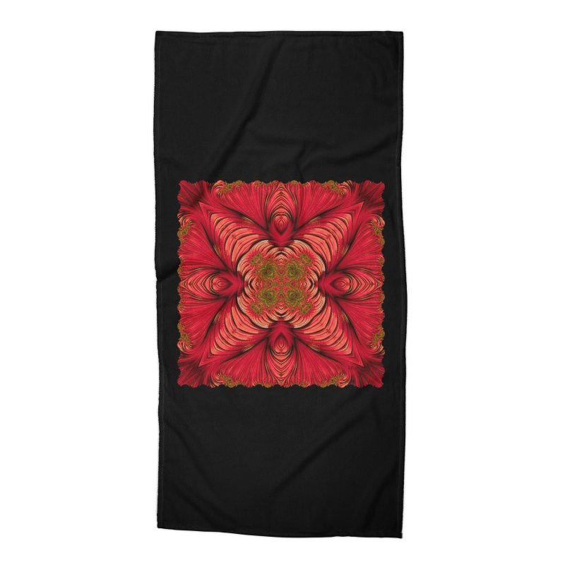 Red Fractal Star Accessories Beach Towel by Barbara Storey Digital Art