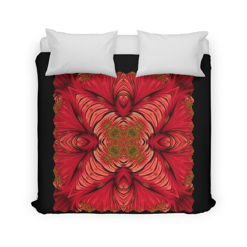 Red Fractal Star Home Duvet by Barbara Storey Digital Art