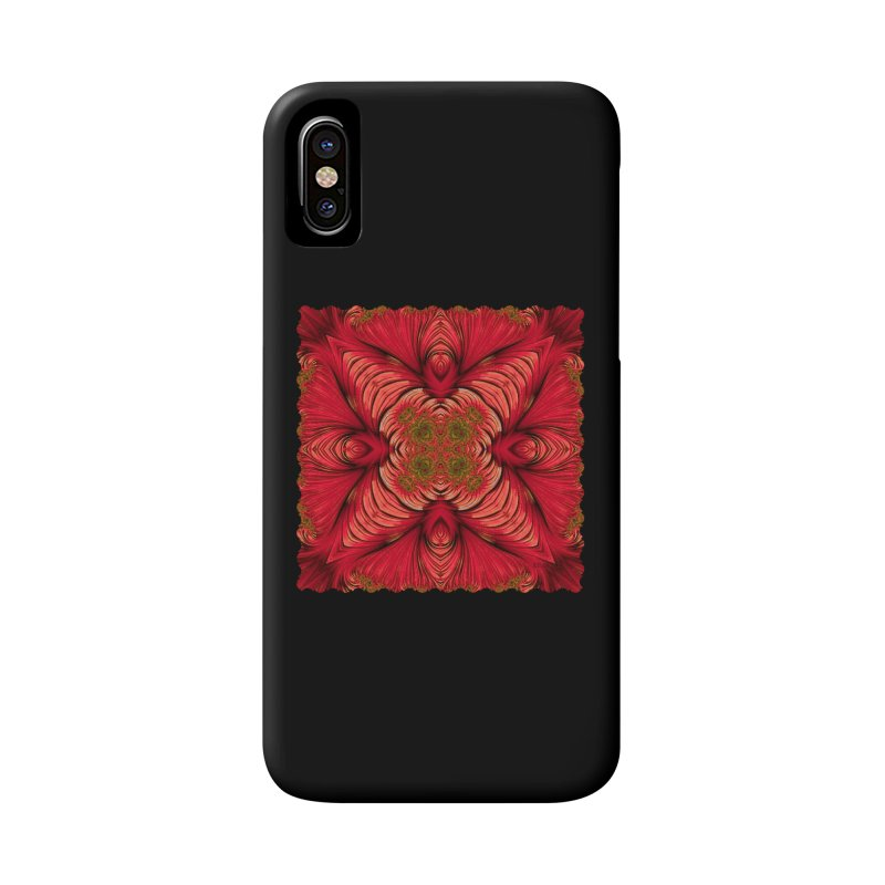 Red Fractal Star Accessories Phone Case by Barbara Storey Digital Art