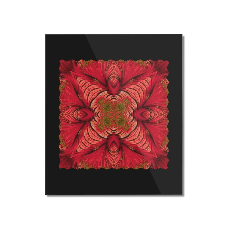 Red Fractal Star Home Mounted Acrylic Print by Barbara Storey Digital Art