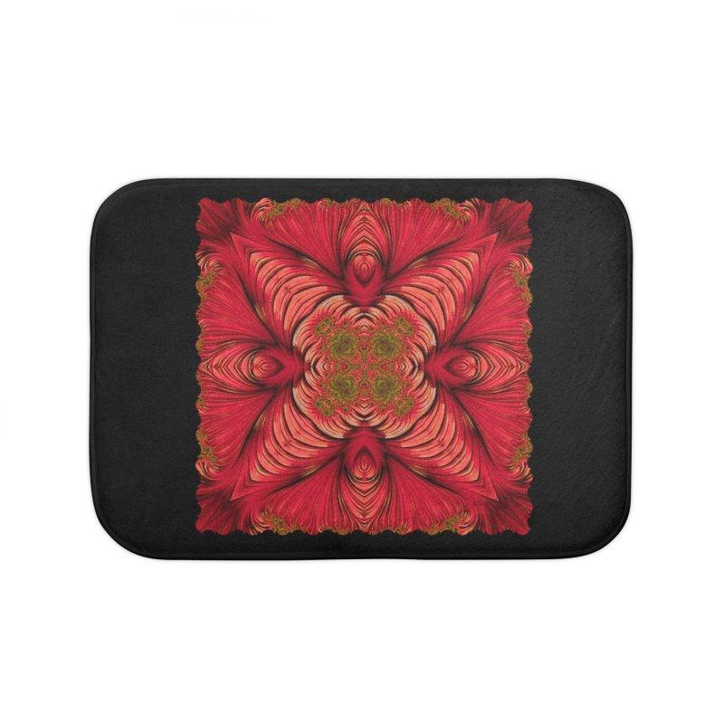 Red Fractal Star Home Bath Mat by Barbara Storey Digital Art