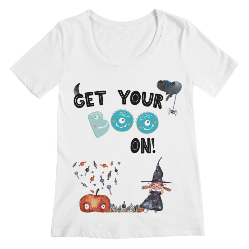 Get Your Boo On! Women's Scoopneck by Barbara Storey Digital Art