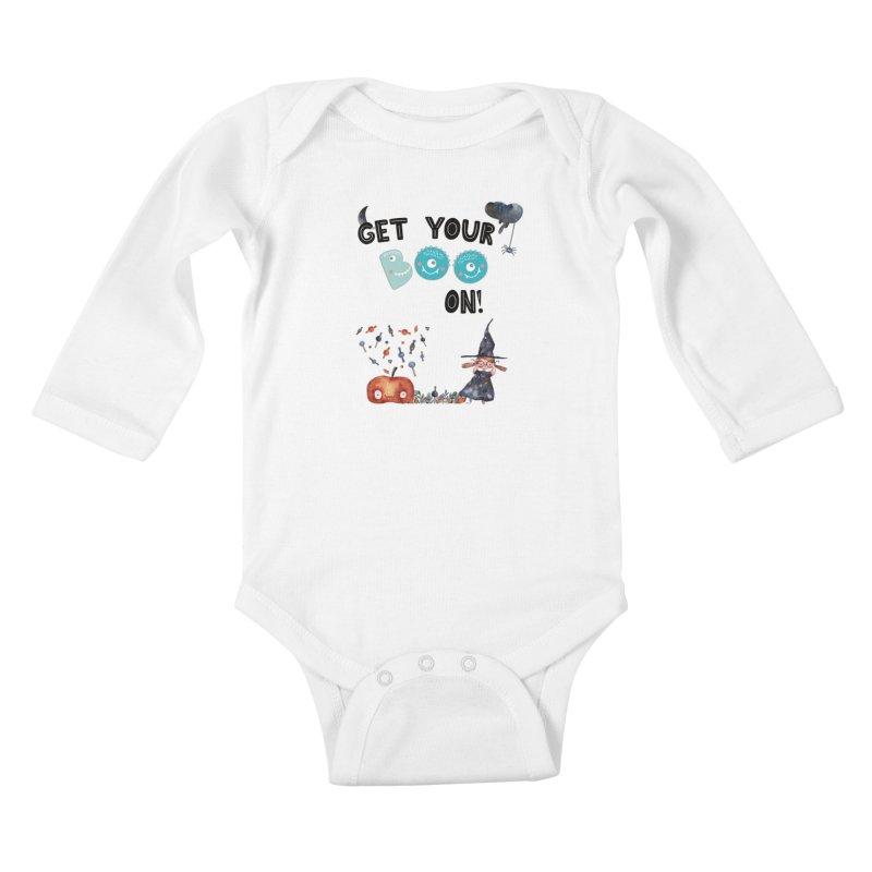 Get Your Boo On! Kids Baby Longsleeve Bodysuit by Barbara Storey Digital Art