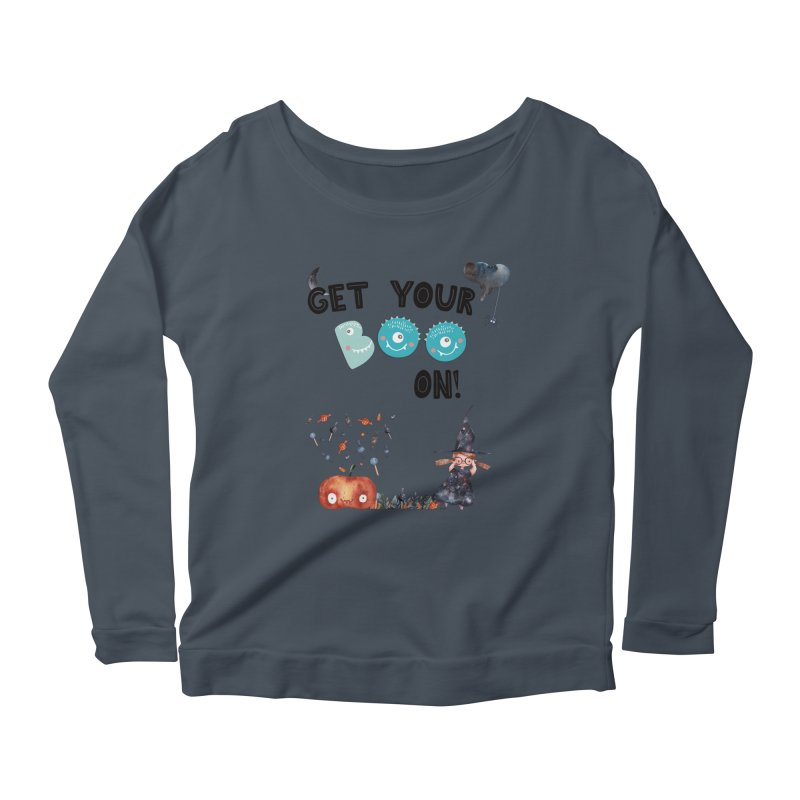 Get Your Boo On! Women's Longsleeve Scoopneck  by Barbara Storey Digital Art