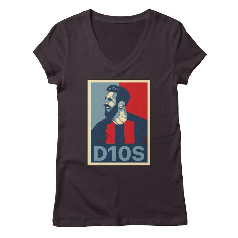 Vote Messi for D10S Women's V-Neck by BM Design Shop