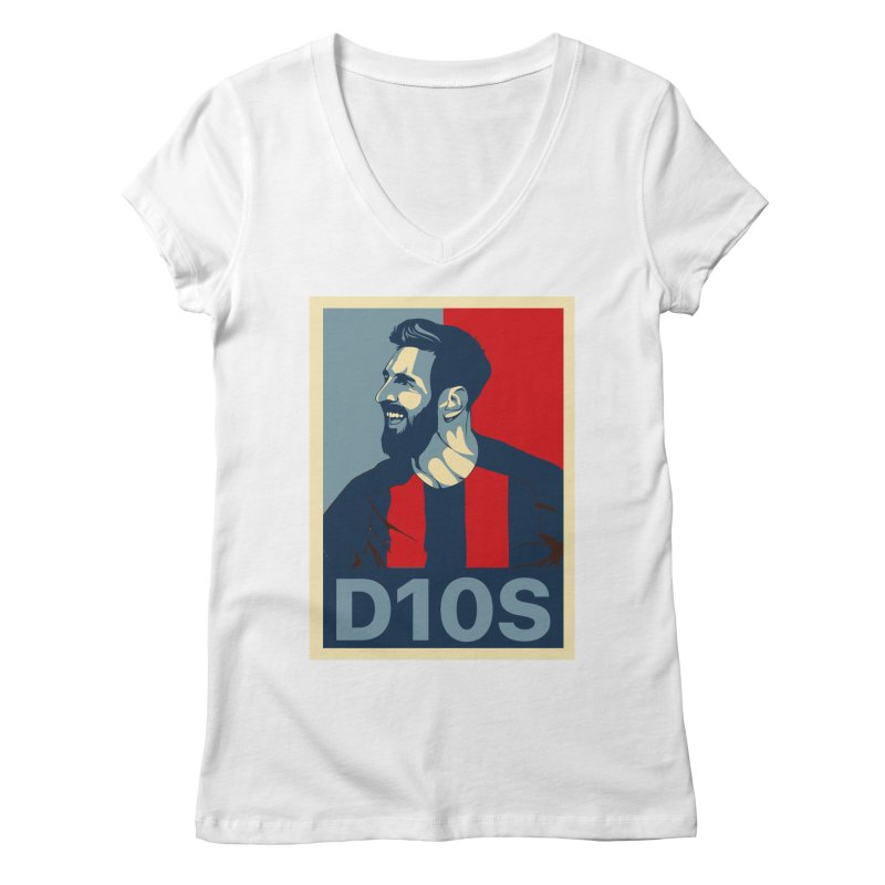 Vote Messi for D10S Women's V-Neck by BM Design Shop