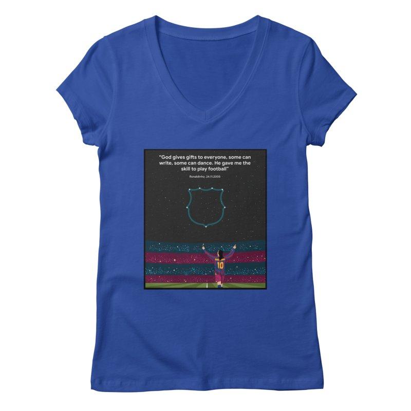 Ronaldinho quote Women's V-Neck by BM Design Shop