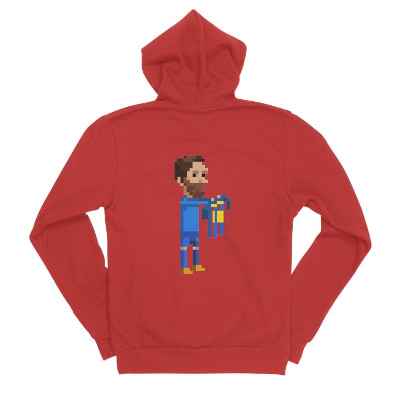 Pixel Messi Men's Zip-Up Hoody by BM Design Shop