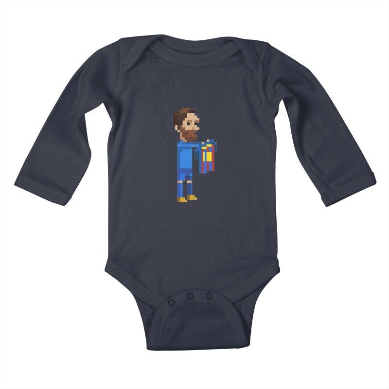 Pixel Messi Kids Baby Longsleeve Bodysuit by BM Design Shop
