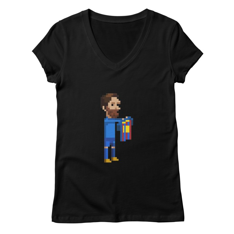 Pixel Messi Women's V-Neck by BM Design Shop