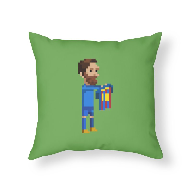 Pixel Messi Home Throw Pillow by BM Design Shop